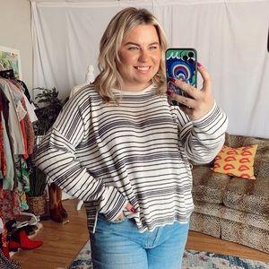 Eileen fisher black white striped knit sweater